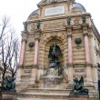 The Fontaine Saint-Michel in the Place Saint-Michel, Paris. France - Stock Photo
