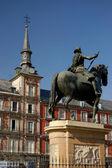 Major Square, Madrid. Spain. Casa de la Panaderia and Felipe III statue — Stock Photo