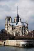 Notre-Dame Cathedral and Seine River. Paris, France — Stock Photo