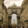 Rua Augusta with the arch of Augusta to the Bottom. Lisbon, Portugal - Stock Photo