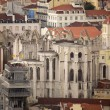 Santa justa elevator and old Cathedral in Lisboa. Portugal — Stock Photo