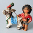 Gypsy and donkey of ceramic . — Stock Photo