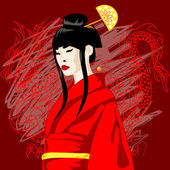 Vector illustration of asian woman in red — Stock Vector