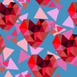 Valentine seamless texture with hearts of triangles — Stock Vector