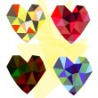 Set of vector mosaic hearts — Stock Vector