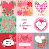 Set of cards for valentines day — Stock Vector