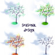 Vector trees in seasons — Stockvektor