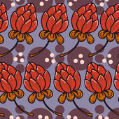 Seamless texture with red flowers — Vector de stock