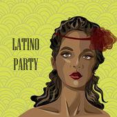 Portrait of pretty Latin American woman — Stock Vector
