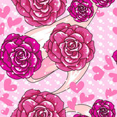 Vector texture with roses and hearts — Vettoriale Stock
