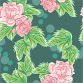 Vector pattern with peony and foliage — Stock Vector