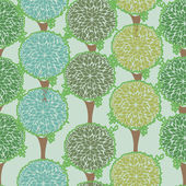 Seamless pattern with green trees — Stock Vector