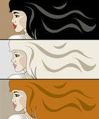 Set of vector women's profiles — Stock Vector