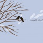 Vector lovely birds sitting on a tree — Stock Vector