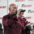 Soccer club president at a speech - Stock Photo