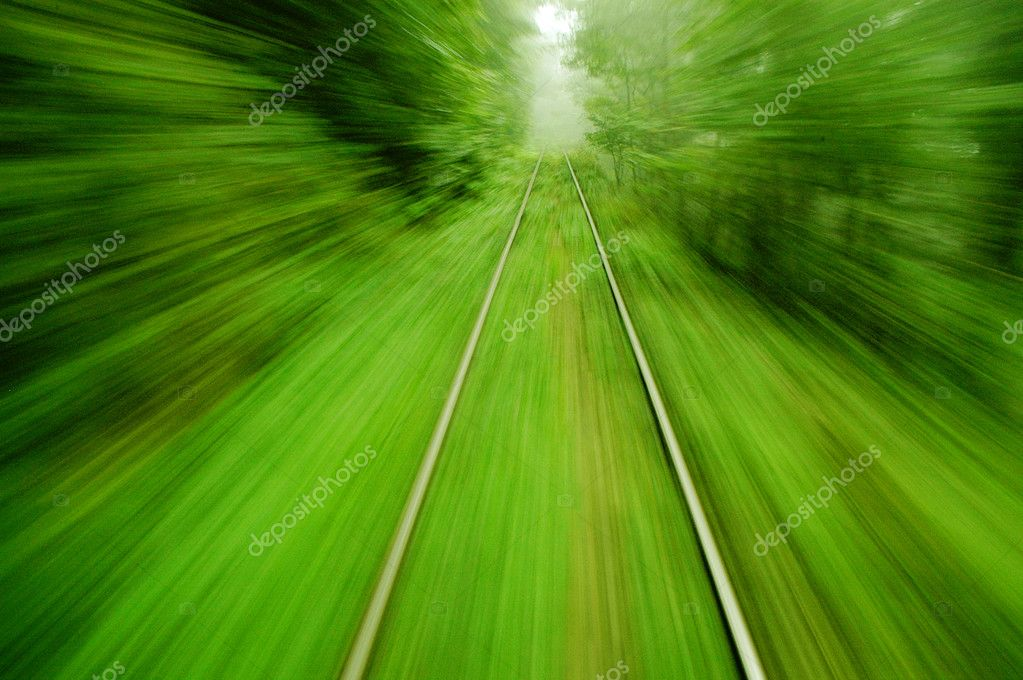 View from an express train on high speed - abstract background  Stock Photo #8327956