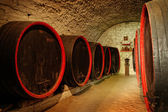 Barrels in a wine-cellar — 图库照片