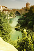 Mostar with the famous bridge, Bosnia and Herzegovina — Stock Photo
