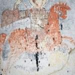 Ancient fresco in Cappadocia. Saint George killing the dragon — Stock Photo #8342652