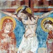 Stock Photo: Ancient fresco, murals in Ghelint(Gelence) church. Romania
