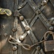 Stock Photo: Iron padlock and chain on old door