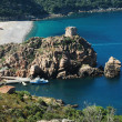 Beach and genoese tower in Porto, Corsica — Stock Photo #8345734
