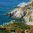 Beautiful rocky beach, sea view. Corsica island — Stock Photo