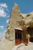Ancient cave-town in Goreme, Cappadocia, Turkey — Stock Photo