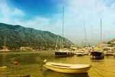 Sailing vessels in the harbor of Kotor, Montenegro — Stock Photo