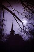 The land of Dracula at sunset, church in Transylvania — Stock Photo
