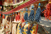 Curtain with colored strings in a turkish market, bazaar — Stock Photo