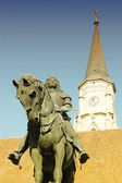 Statue of King Mathias in Cluj Napoca, Transylvania — Stock Photo