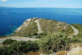 Korsika adası yılan gibi yol — Stok fotoğraf