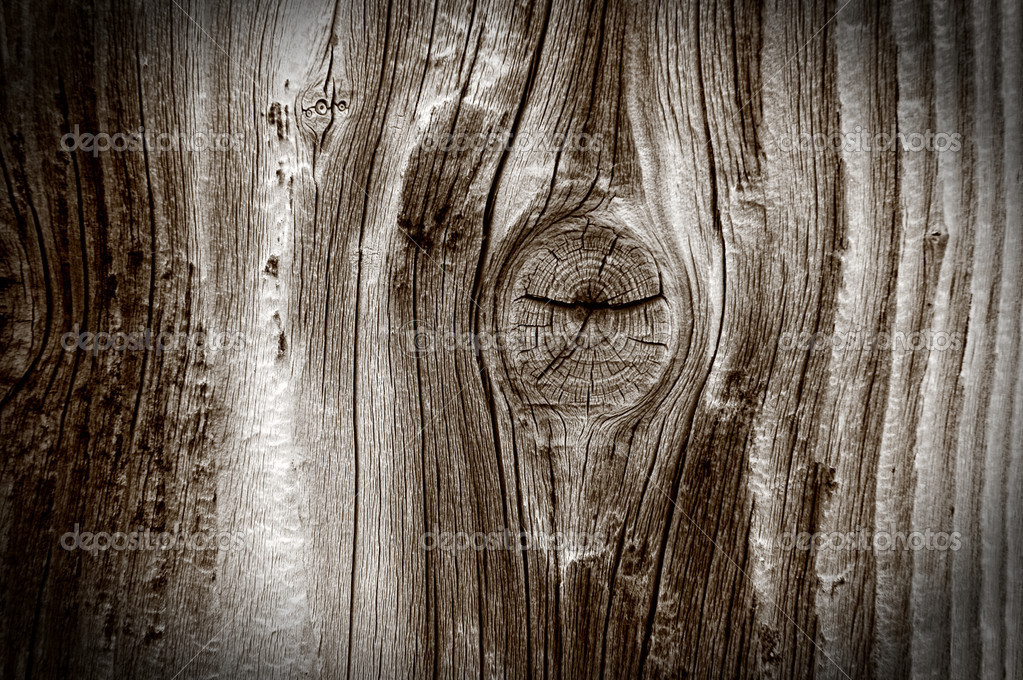 Closeup view of grainy wooden texture with knot — Stock Photo #8342872