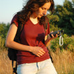 Girl with GPS navigator — Stock Photo #8411708