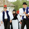 Wedding participants in traditional hungarian clothes — Stock Photo