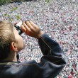 Crowds of hungarian pilgrims — Stock Photo