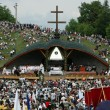 Stock Photo: Crowds of Hungaripilgrims celebrate Pentecost