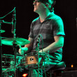 Live rock concert, drummer on stage — Stock fotografie