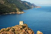 Plaża i genueńskiej wieży w porto na korsyce, francja — Zdjęcie stockowe