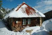 Dom objętych śniegu w zimie — Zdjęcie stockowe