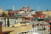 Istanbul houses, Hagia Sofia in background — Stock Photo