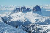 Estación de esquí en el dolomities, dolomitas - italia en invierno — Foto de Stock
