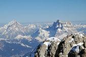 Snow covered mountains in the Italian Dolomites, Dolomiti — Stock Photo