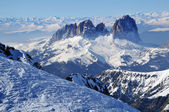 Ski resort in the Dolomities, Dolomiti - Italy in wintertime — Stock Photo
