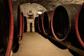 Barrels in a wine-cellar. Transylvania, Romania — Foto Stock