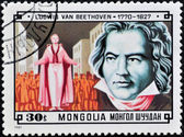 A stamp printed in Mongolia shows image of the German composer Beethoven — Stock Photo
