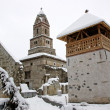 Densus Church in Romania, at winter - Stock Photo