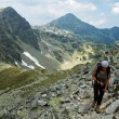 Hiker in Retezat National Park Mountains, Carpathians, Romania — Stock Photo