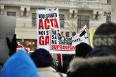 Protesting against ACTA — Stock Photo